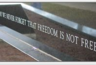"Text saying ""never forget that freedom is not free:"""