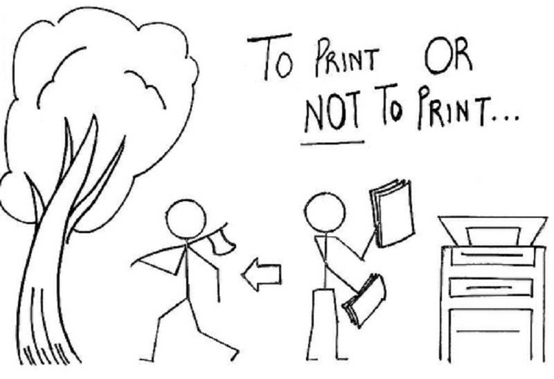 This drawing contains two stick men, a tree and a printer.