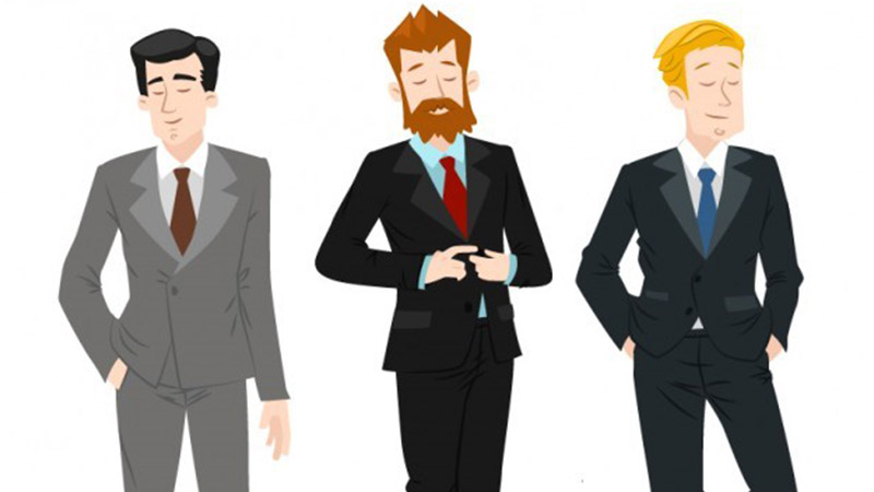 Different men dressed in different colored suits.