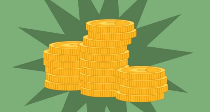 This image shows a few stacks of gold coins.