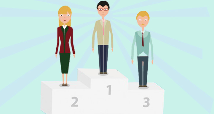 People are standing on a podium at the first, second and third position.*