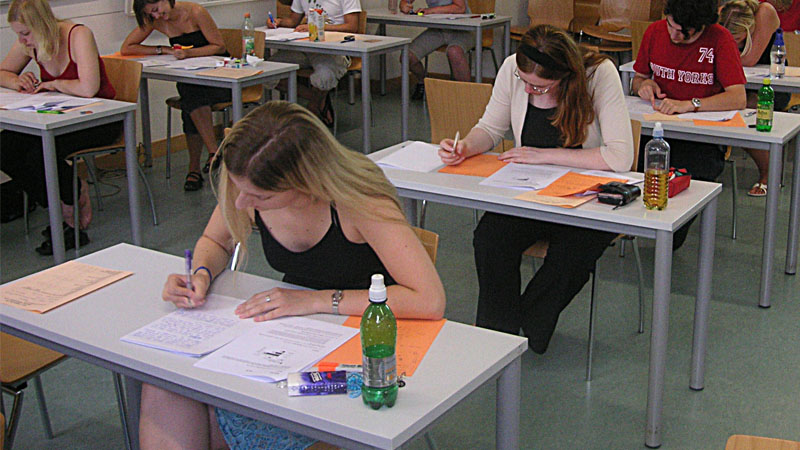 candidates giving test for a job