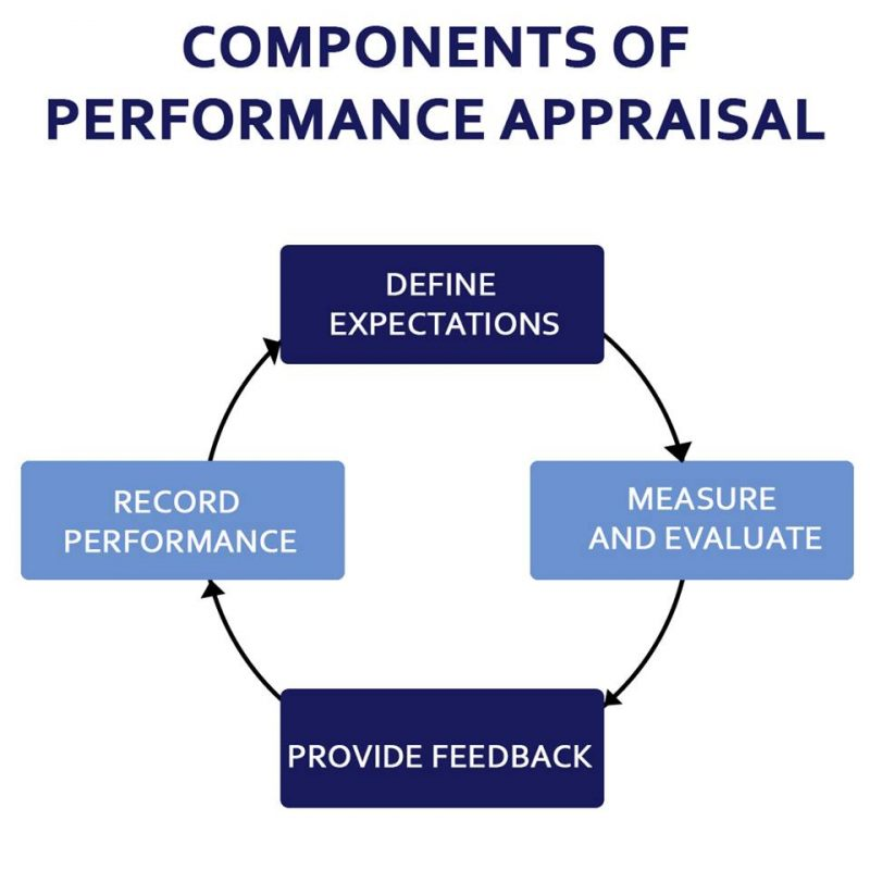 A chart showing the process of performance appraisal